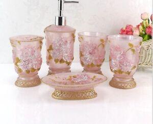 5 pcs Vintage Floral Resin Bathroom Sets Toothbrush Soap Dish Dispenser Holder