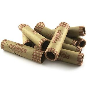 108-ROLLS-PREFORMED-PENNY-COIN-WRAPPERS-TUBES-1-CENT-PENNIES-Shotgun-Counter