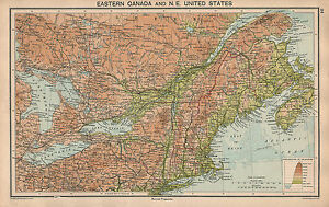 image is loading 1931 map eastern canada amp north east united