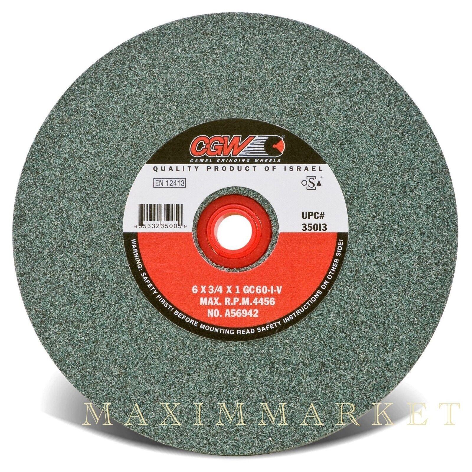 """8/"""" x 1/"""" x 1-1//4-1//2/"""" CGW Bench or Pedestal Grinding Wheel Green Silicon Carbide"""