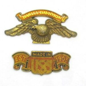 Harley-Davidson-Vintage-Made-in-USA-EST-1903-Eagle-Emblem-Authentic-in-2-Pieces