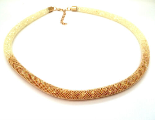 High Quality Crystal Filled Mesh Collar Stardust Choker Necklace Lobster Clasp