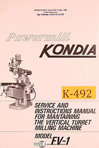 s l300 kondia fv 1, powermill milling service and parts manual ebay  at crackthecode.co