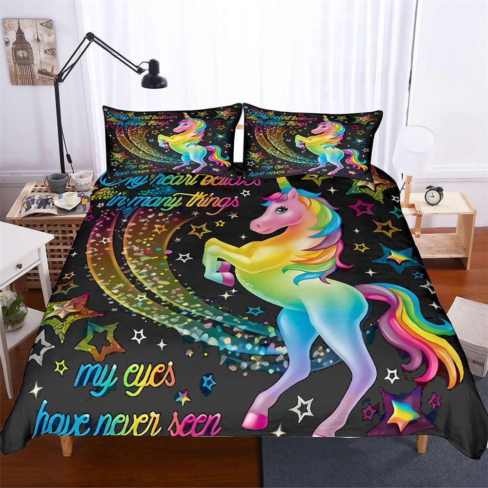ColGoldt Pony Raised Hooves 3D Digital Print Bedding Duvet Quilt Cover Pillowcase