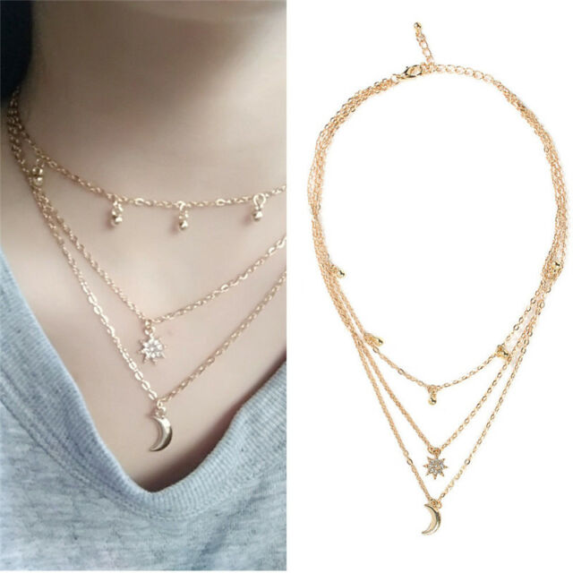 Boho Four-layers Choker Pendant Necklace Crystal Star Moon Chain Women Jewelry
