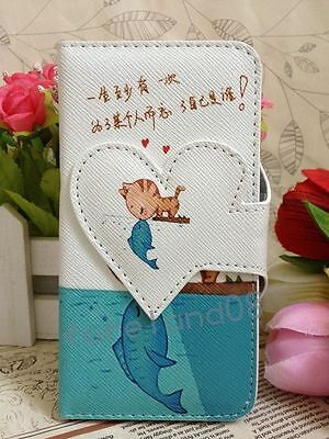 Cat Kiss Fish Sweet Love Card Slots Flip Pouch Leather Case for LG Huawei Lenovo