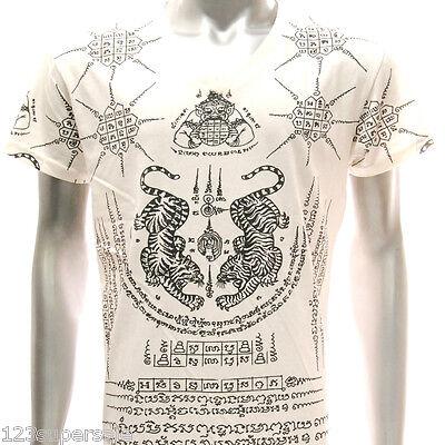 w20 Japanese Irezumi Tattoo VNECK T-shirt Tiger SUA Magic Symbol Street Rahu Tee