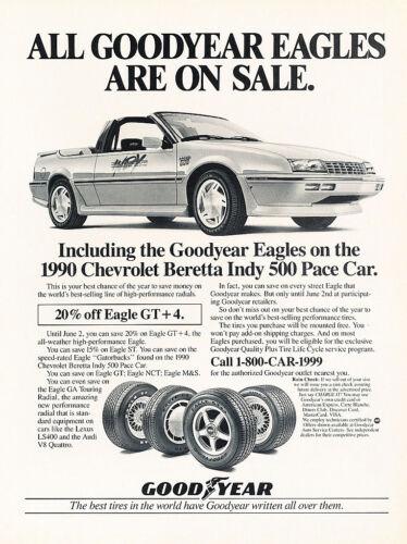 1990 Chevy Beretta Indy Convertible Goodyear Car Advertisement Print Ad J155