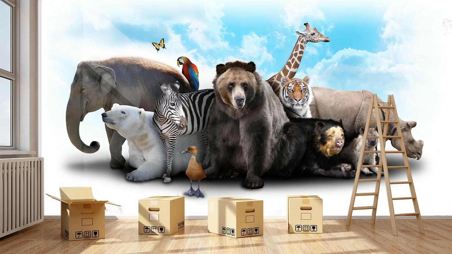 3D Animal World Sky 8 Wall Paper Murals Wall Print Wall Wallpaper Mural AU Lemon