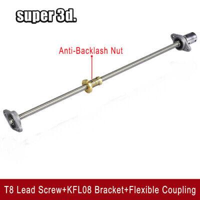 1 Set T8 Lead Screw+Brass Nut+KFL08 Bracket+5 to 8mm Coupling Moving system kit.