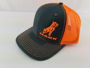 87c38aaab82dc Mack Trucks Charcoal   Neon Orange Bulldog Logo Trucker Style Hat ...