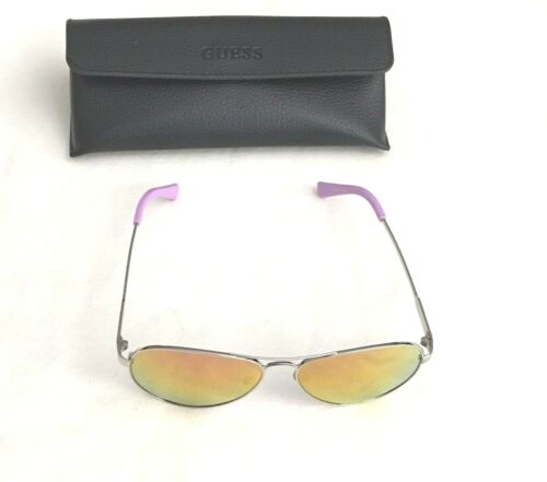GUESS GU7228 10C Silver Purple Liliana Mirrored Aviator Sunglasses