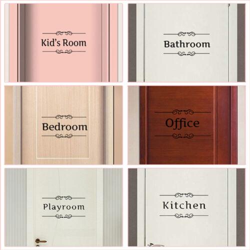 Kitchen Bathroom Office Toilet Decals Wall Art Entrance Sign Door Stickers