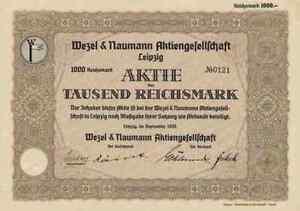 Wezel & Naumann 1935 Leipzig Zeitz Aue Sachsen Mülfort Rheydt 1000 Reichsmark Reines Und Mildes Aroma