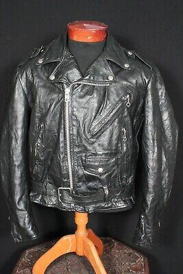 Diplomatisch Vintage 1980's Excelled Schwarz Motorrad Lederjacke Größe 42 Hohe QualitäT Und Preiswert