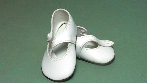 pair of doll shoes pat Puppenschuhe aus Kunstleder weiss 7,1 cm leather