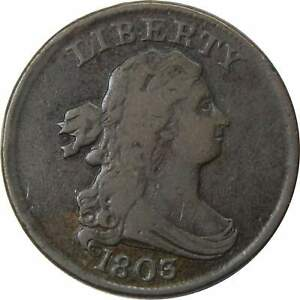 1803-1-2c-Draped-Bust-Half-Cent-Penny-Coin-VF-Very-Fine
