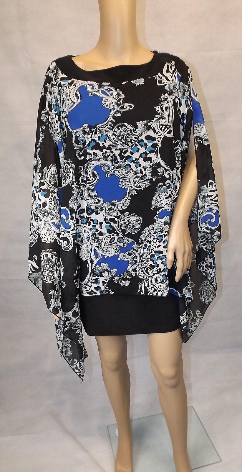 ALFrotO PAULY   34  Kleid mit Kaftan  Kaftankleid  schwarz blau  mini  NEU