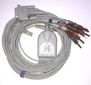 Mortara-Burdick-15-Pin-10-fuehrt-Banana-EKG-Kabel-Kompatibel-Gleichen-Tag-Versand