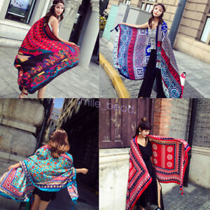 New-Women-Ethnic-Sunscreen-Scarf-Beach-Shawl-Wrap-Scarves-Hijab-Fabric