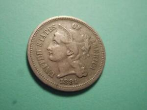 1881 THREE CENT NICKEL XF CONDITION SEE ***15*** PHOTOS BELOW