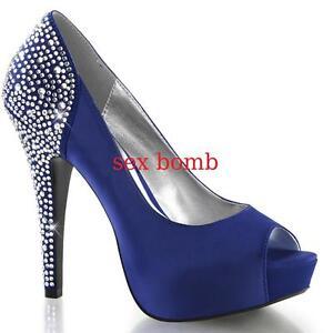 Strass Sexy 13 Fashion Glamour Tacco Al Spuntate 41 Blu Dal Scarpe 35 Decolte' qEFrE1