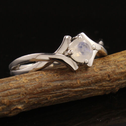 925 Sterling Silver Natural Rainbow Moonstone Gemstone Girl/'s Ring All Sizes