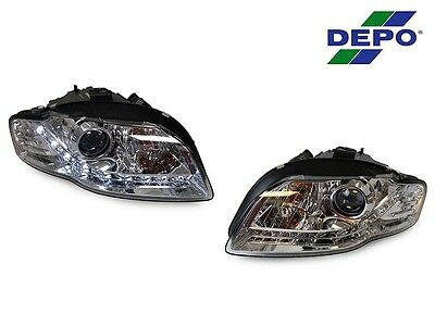 *REFURBISHED* 14 PIN 06-08 AUDI A4/S4 B7 R8 DRL LED CHROME XENON D1S HEADLIGHT