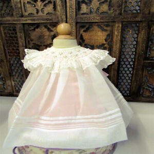 340744c3afbf Details about NWT Will'beth Cream Sheer Overlay Smocked Bishop Lace Dress  Newborn Baby Girls