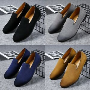 men's suede casual loafers moccasins slip on shoes driving