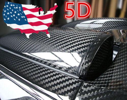 "5D Ultra Shiny Gloss Glossy Black Carbon Fiber Vinyl Wrap Sticker Decal 12/""x60/"""