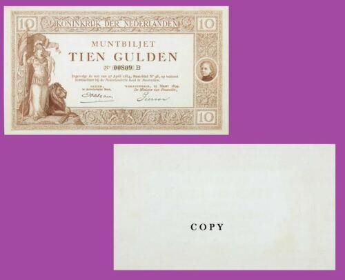 NETHERLANDS P-2p Nederlandsche Bank 15.3.1894 10 Gulden UNC Reproductions