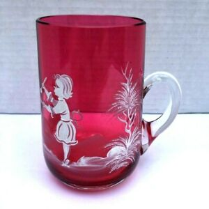 Mary Gregory Cranberry Vintage Crystal Mug Bohemia Cut White Paint Girl