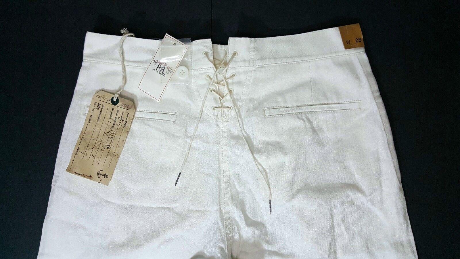 390 RALPH LAUREN DOUBLE RRL Women's Wide-Leg Sailor COTTON-BLEND IVORY PANT