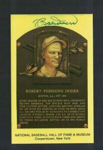 Bobby Doerr Boston Red Sox Signed Gold HOF Plaque Postcard W/Our COA J