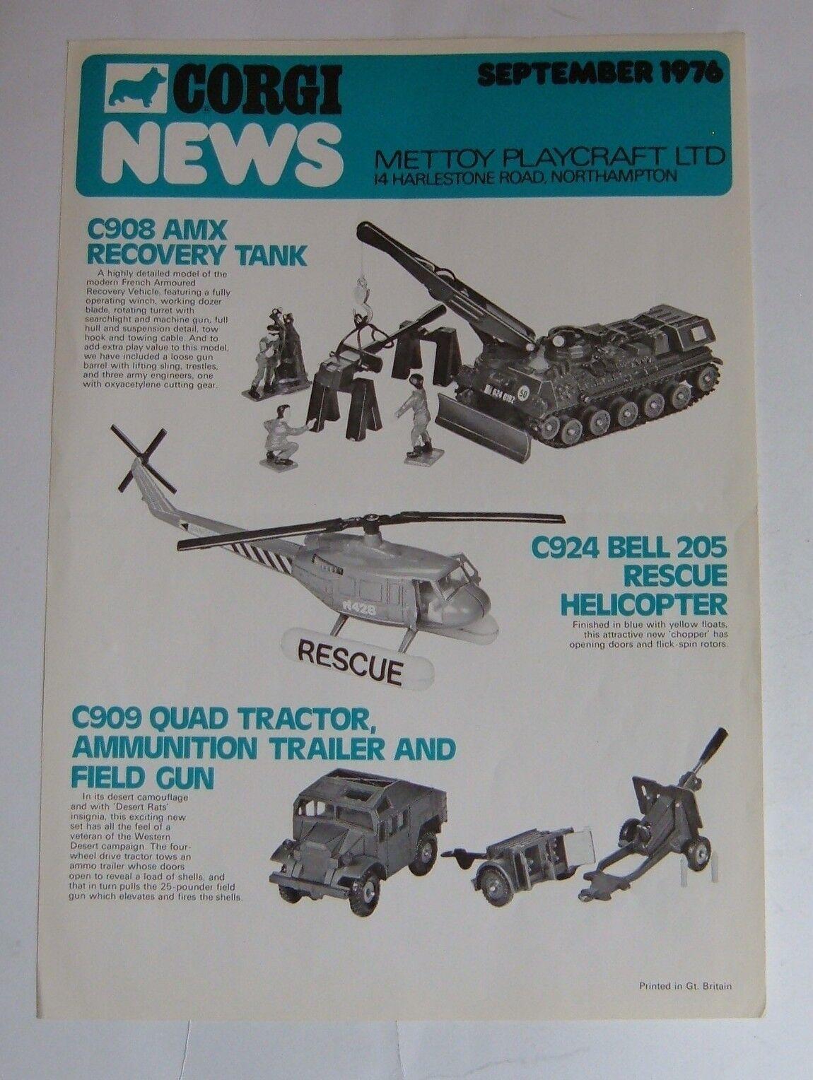 Rare Corgi Toys   Playcraft News Letter, Dated September 1976, - Superb.