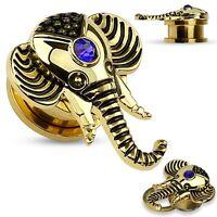 Earrings Rings Faux Sapphire Gold Ip Elephant Top Screw Fit Flesh Plug Tunnel 6g
