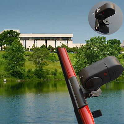 Black Electronic LED Light Fish Bite Sound Alarm Bell Clip In Fishing Rod TIAU