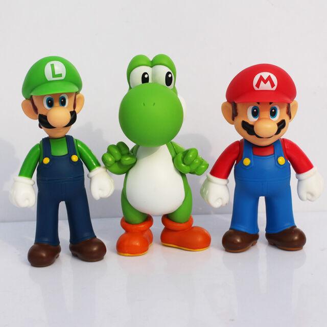 3pcs Nintendo Super Mario Bros Luigi Mario Action Figures Toys Gift ... b5f265505858