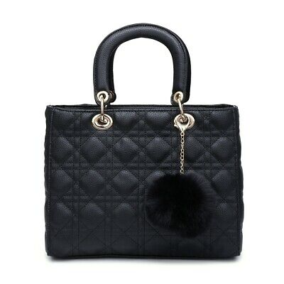 Quilted Tote Commuting Shoulder Handbag Woman Synthetic Leather Medium Diamond