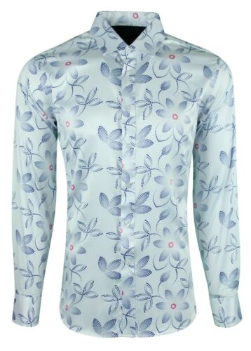 1007 MENS SHIRT FLOWER 60s HIPPY CASUAL PARTY FORMAL LONG SLEEVE SHIRT £19.99