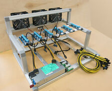 6.1 GPU Mining Rig Cooled Open Air Frame Case w/ 6 USB Risers & PSU ETH Ethereum