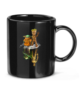 Baby-Yoda and Baby-Groot Water Reflection Gift for Men Women Tea Cup Coffee Mug