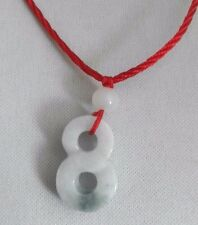 Green Jade Chinese Feng Shui Lucky Infinity Sign charm Red String Cord Necklace