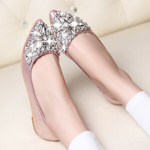 Women-039-s-Ladies-Rhinestone-Shoes-Low-Heel-Flat-Casual-Pointed-Toe-Pumps-Prom-Slip