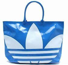 ADIDAS BEACH SHOPPER PATENT BAG Blue-White big trefoil logo shoulder shopping