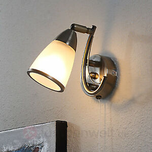 wandleuchte irma spiegelbeleuchtung bad wandlampe mit zugschalter lampenwelt ebay. Black Bedroom Furniture Sets. Home Design Ideas