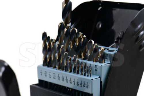 "1//2/"" Heavy Duty Black /& Gold Jobber Drill Set 22Pcs 135° HSS 1//16/"" 3//8/"" By 64"