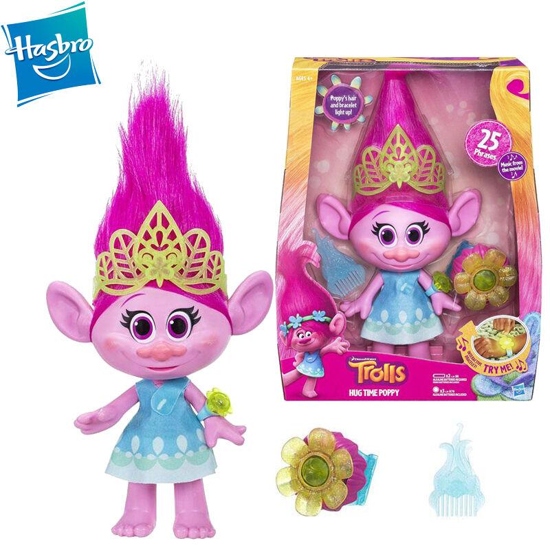 DreamWorks Singing Trolls Hug Time Poppy Action Figure Doll Light Movie Song Toy