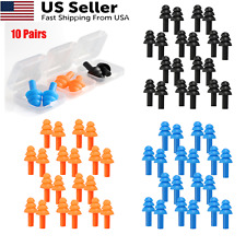 10 Pairs 10 Boxes Blue Silicone Ear Plugs Earplugs Noise Hearing Protection Us